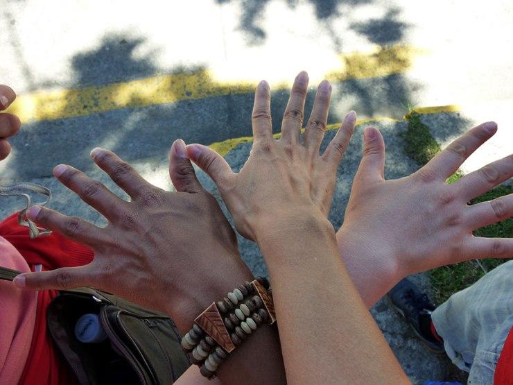 three different skin tones, three different friends