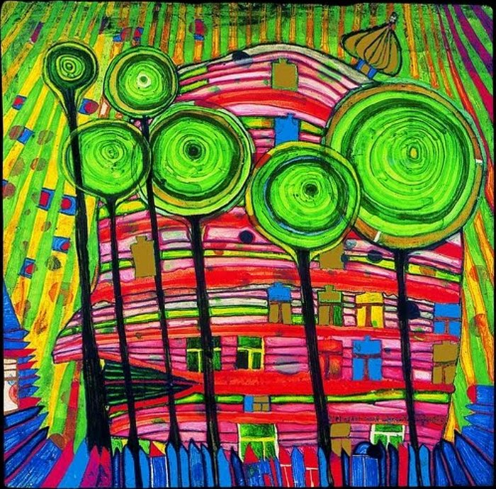 Hundertwasswer, The Blob Grows in the Beloved Gardens, 1975