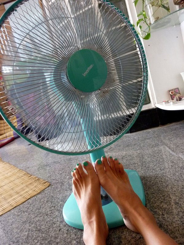 turquoise fan and matching toe nails