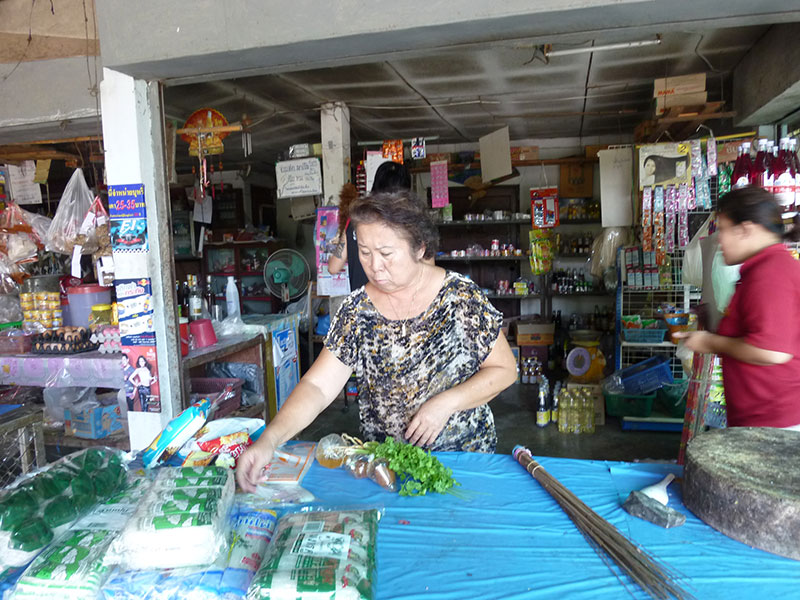 Mom helping out in her sister's store.