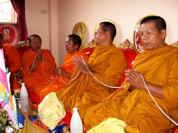 Monks at our house blessing [Lamphun, 2007]