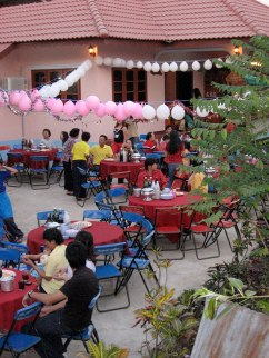 Seating outside before things started to fill up.