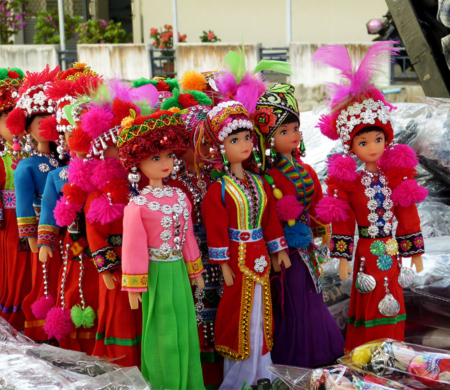 Hill tribe barbies at Maesai, Thailand, 2010