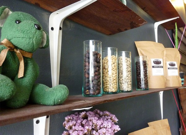 Tu's lucky green bear and coffee :)