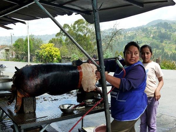 Flame-torched pig, Biblian, Ecuador, 2010