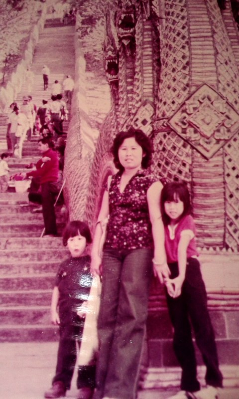 Larry, Mom and me at Doi Suthep, Chiang Mai, 1979.