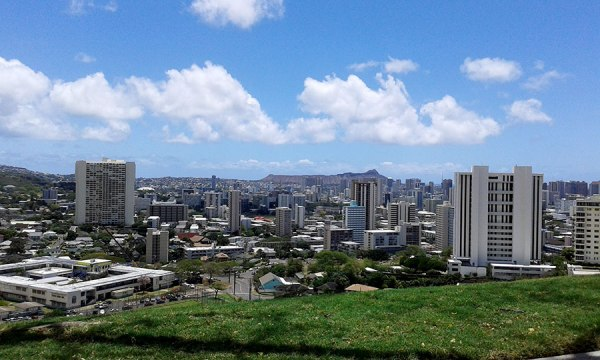 Iconic Diamond Head and downtown Honolulu.