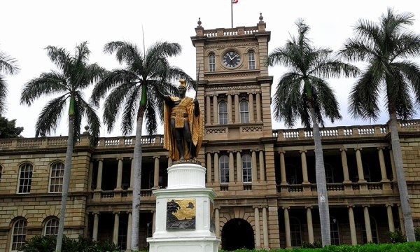 All hail the king. [King Kamehameha united the Hawaiian islands and the people]