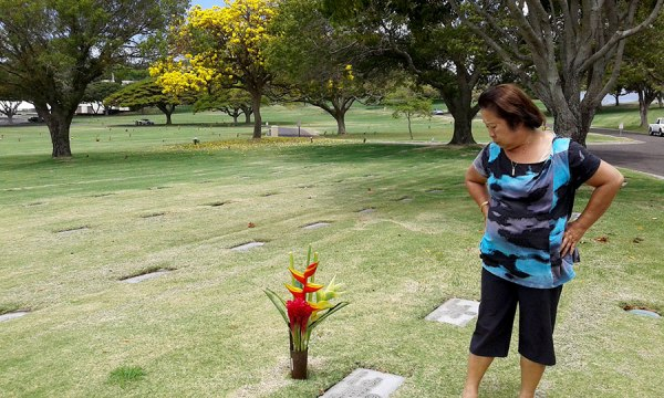 Visiting Dad at Punchbowl Cemetary.