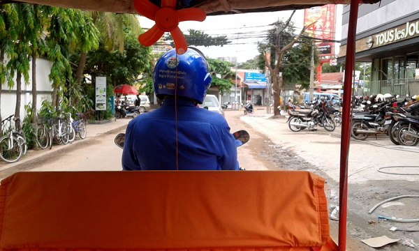 In the back of a tuk tuk Siem Reap