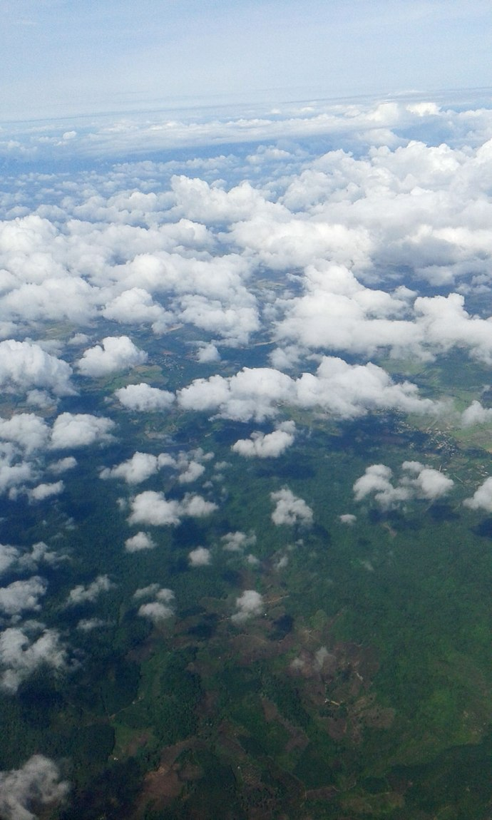looking down at SE Asia from an airplane