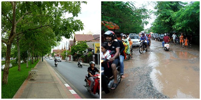 Chiang Mai Thailand, Siem Reap Cambodia roads. Guess which one is more difficult to drive down?