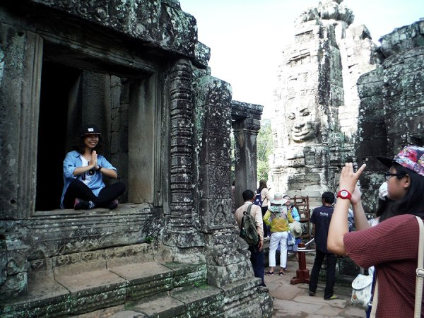 We managed to avoid the crowds most of the time we were there, but Bayon is a popular temple so there were TONS of tourists. Fun for me!