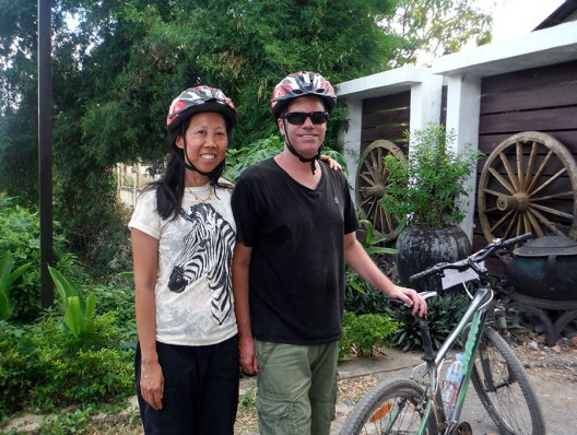 Eric and I, sweaty after our ride around Battambang.