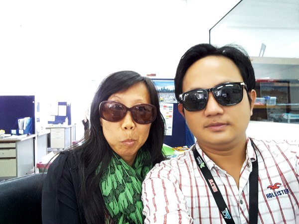 My colleague, my Khmer teacher...#selfieatwork