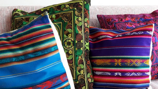pillows from Ecuador and Cambodia