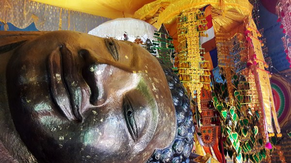 It was challenging to try to photograph the entire reclining Buddha, so I opted for his head. I rather liked how it came out, too!