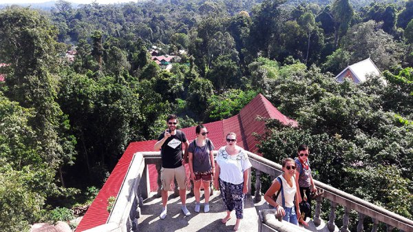 On the way down from the Buddha, we were greeted with a spectacular view! [some of the van gang pictured here]