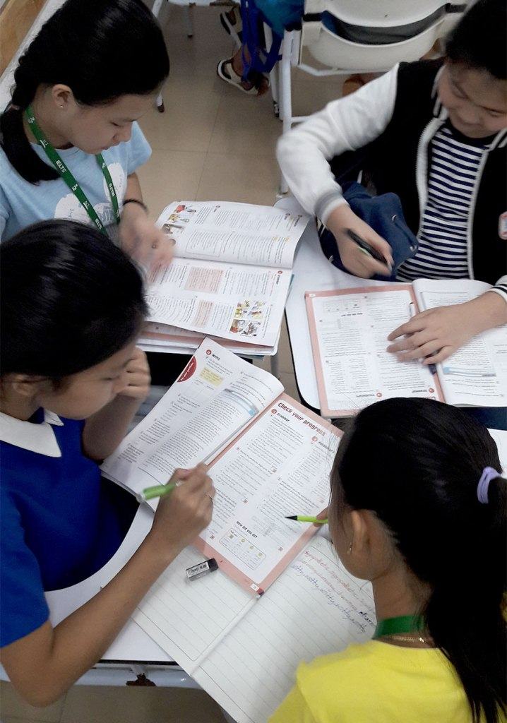 Khmer young learner girls studying English