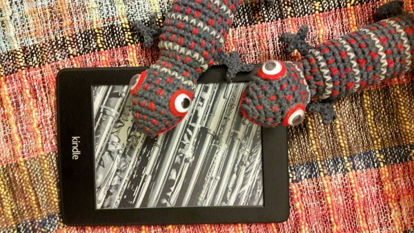 crocheted Tokay toys and kindle