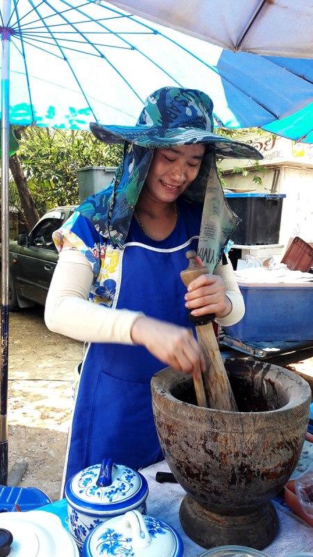 Making papaya salad in Lamphun Thailand