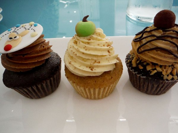 three cupcakes at Blossom Cafe Siem Reap