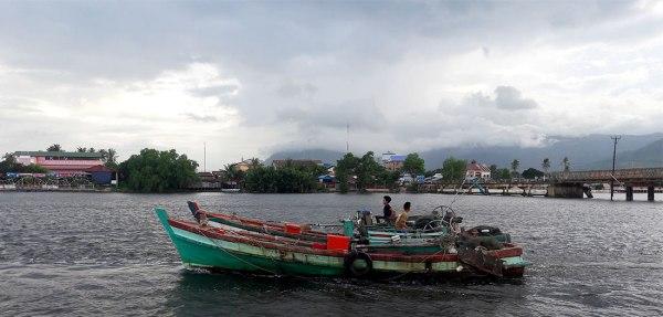 Boats on Kampot River, Cambodia