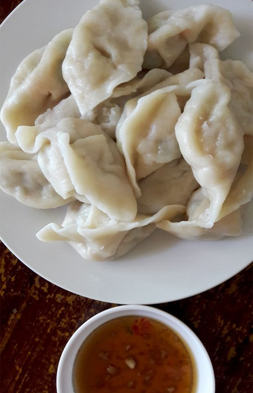 Steamed vegetarian dumplings at Ecran in Kampot