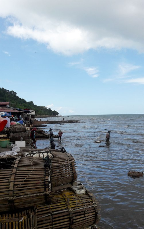 at Kep's seafood market looking out to the sea