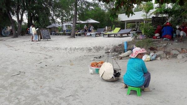 Crab sellers at Otres Beach, Cambodia