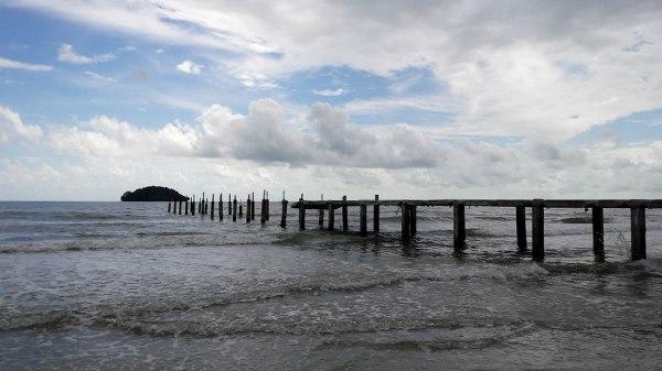 Half of a pier at Otres Beach, Sihanoukville, Cambodia