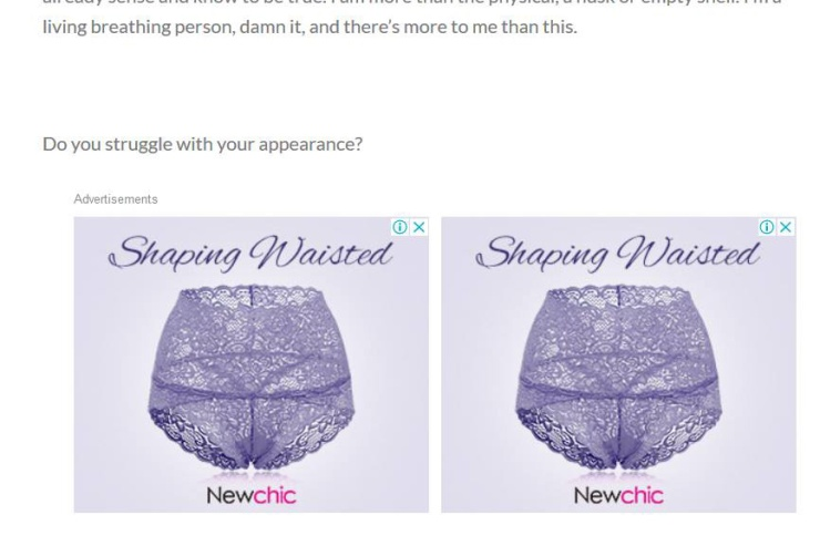 WP advertising fail on my blog post about female body image