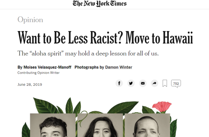 My reaction to want to be less racist? move to hawaii